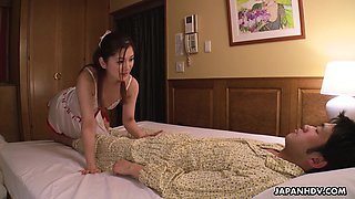 Lovely and naughty Japanese maid Anna Kimijima gives a sensual blowjob