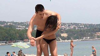 Jiu jitsu with topless girlfriend