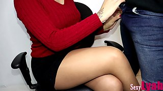 Secretary Jerks Off New Boy at Work until Cum on Crossed Legs in Pantyhose