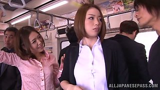 Slutty Japanese office girl gets fucked in a bus