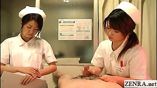Subtitled CFNM Japanese nurses hospital handjob cumshot