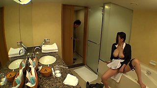 Japanese maid with juicy tits out masturbates pussy in bathroom