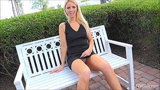 Black platform heels are gorgeous on this upskirt flashing blonde