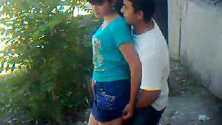 Uzbek young couple outdoors