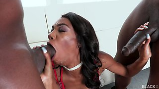 Hardcore threesome between two large black dicks and Chanel Skye
