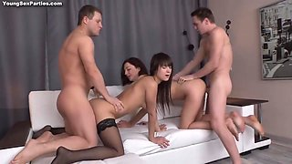 18yo Russian Schoolgirls In Foursome Action With 18 Years Old