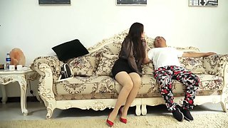 Chinese lady strict bondage and pantyhose gag