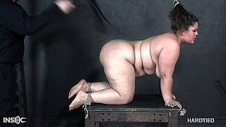 Super fat whore Karla Lane is punished in the dark BDSM room