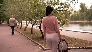 White leggings..., transparent blouse &amp cameltoe magic