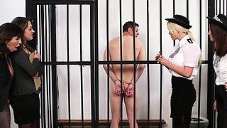 Brit dom CFNM police babe humiliate prisoner