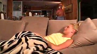 Blonde babysitter falls sleeping   gets fucked