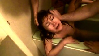 Slutty Japanese babe gets pounded rough by a group of boys