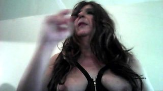 Me smoking and playing with my tits