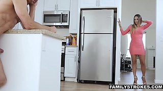 Red haired coed Karlie Brooks meeting her step daddy for the first time
