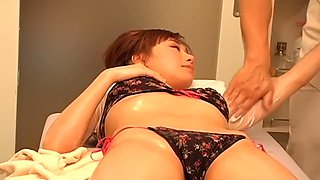 Goodly Japanese chick gets massaged on a hidden camera