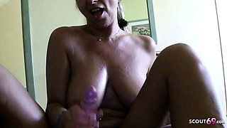 German MILF Flash Huge Tits in Plane and Ride on Holiday