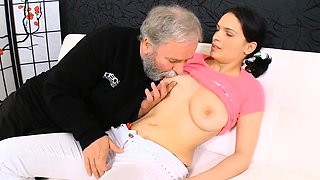 Delightful young babe takes old nasty dong in her mouth