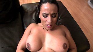 Two large boobs jump up and down as the maid rides a hard dick