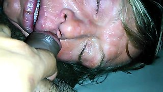 Sleeping amateur granny takes a fat cock in her mouth in POV