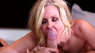 Hardcore blonde mommy is sucking a dick