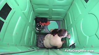Porta Gloryhole BBW getting loads of cum inside porta potty gloryhole