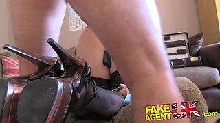 FakeAgentUK Double penetration for big titted Blonde in BDSM