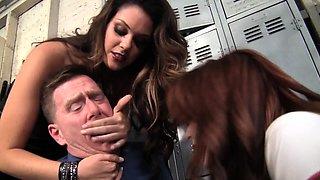 Two bratty schoolgirls dominate their teacher with panty.