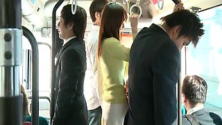 Wild fucking in the public bus with horny Japanese Nono Mizusawa