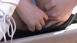 Voyeur footage of Asian girls with soaked panties