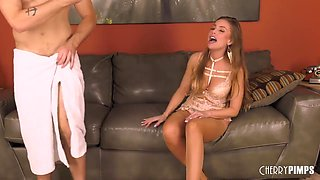 Racy woman in erotic lingerie, Britney Amber is having casual sex with a younger guy