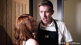 Redhead teen secretary Ella Hughes opens her mouth for a juicy cumshot