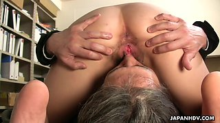 Asian secretary pleases her new boss and rides his penis