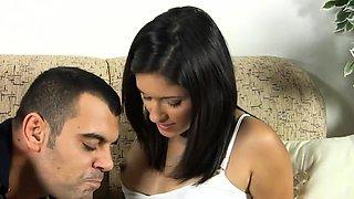 Engaging brunette maid Salma Hajkina enjoys cunny hammering
