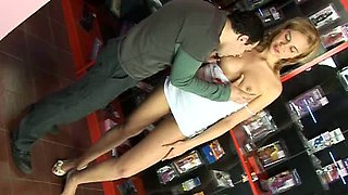 Leggy teen rides hard dick and gets her pussy licked in sex shop