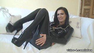 Emma-Kate in Black Jacket and Leggings - LatexHeavenVideo