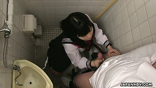 Filthy Japanese student Sayaka Aishiro gives a blowjob and tugjob in the toilet