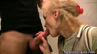 Innocent blonde struggles hard for loads of cum