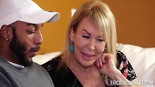 Surprised black stud gets a nice blowjob from busty mature whore Erica Lauren