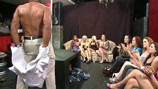 Male stripper is invited over to a hen party and some fun