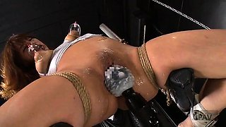 Stacked Asian beauty in lingerie learns a lesson in bondage