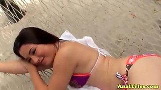 Teen girlfriends anal fun on holiday