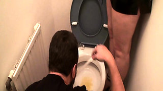 Femdom ladies humiliate slave at the toilet