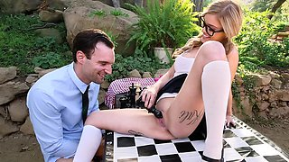 Skinny angel with glasses Kali Roses loves chess and sex