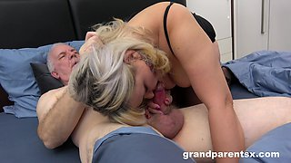 Old man fucks his dirty wife and a skinny younger hooker. HD