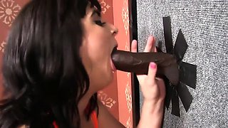 Beverly Paige plays with Gloryhole BBCs