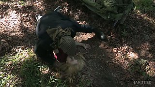 Seductive blondie Alina West is punished in the deep forest