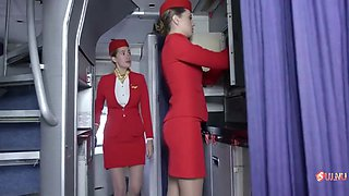 Passenger Fucks Airline Stewardess In Nylon Stockings And Heels!