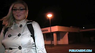 PublicAgent: Blonde in glasses fucks big cock outdoors in public