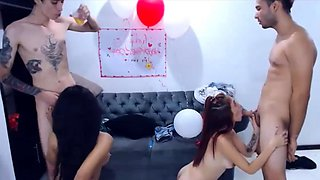 Hardcore amateur foursome with two hot slutty latinas live a