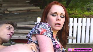 A hunk dude intensely banged big round ass of Ella Hughes